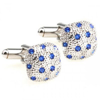 Wholesale daft punk cufflinks Romance Soft Square Blue Crystal Cufflinksman s copper and white steel