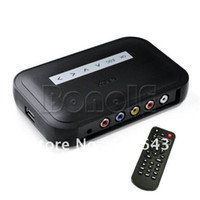 Wholesale Holiday Sale NBOX RM RMVB MP3 AVI MPEG Divx HDD HD TV USB SD Card Media Flash Player Remote Black