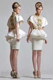 Wholesale Krikor Jabotian New Retro High Neck Short Sleeves Appliqued Chinese Wind Appliqued Mini Evening Cocktail Dress