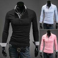 Men Cotton Polo new arrive HOT Men's T-shirt Slim men's polo shirts Plaid long sleeve mens t shirts black szie M L XL XXL 3098