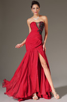 Wholesale Glamorous NEW Actual Image Sexy Red Beading Nina Dobrev Mermaid Sweetheart Strapless Emmy Awards Celebrity Dresses Party Evening Prom Dress