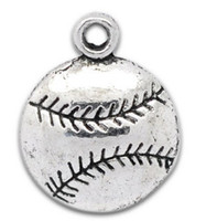 Charms diy - Antique Silver Single sided Baseball Charm Pendants x14 mm Jewelry DIY