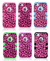 For Apple iPhone Plastic For Christmas Leopard Print Robot Style Cell Phone Cases For iphone 4 4S iphone4S Waterproof Back Case Hybrid Plastic Shell Silicone Skin 3 in 1