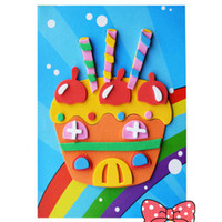 Wholesale by EMS Preschool Toy Birthday Cake D Sticker Puzzle EVA Toys amp Gifts Education Toy Home Decoration