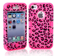 For Apple iPhone Plastic For Christmas 6 Design Leopard Print Mobile Phone Cases For iphone 4 4S iphone4 Waterproof Shockproof Back Case Hybrid Plastic Shell Silicone Skin 3 in 1