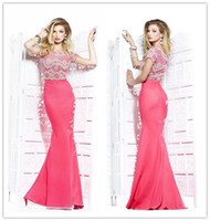 Wholesale 2014 High End Exotic Evening Dresses with Short Sleeves Fishtail Prom Dresses Sparkly Embellished Pageant Gowns Sari Tarik Ediz Dress
