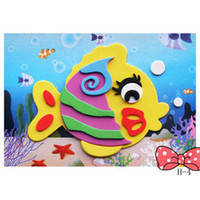 Wholesale by EMS Preschool Kid Education Toy Cartoon Fish D Sticker Puzzle EVA Children s room Ornament