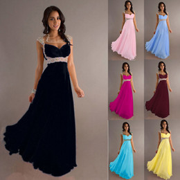 Wholesale In Stock Modern Prom Dresses Sweetheart Capped Sleeves Sequins Crystal Beading Column Chiffon Zipper Stunning Floor length Formal Gowns L49