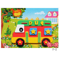 Wholesale by EMS Preschool Children Education Toy Cartoon Bus D Sticker Puzzle Toy EVA Children s House Ornament