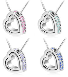 Wholesale Newest Christmas gift fashionl Necklace k Gold Plated double Heart Pendant Necklace with SWAROVSKI CRYSTALS fashion necklaces