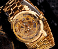 Wholesale 2014 new hot Gold Watch Mens Skeleton Mechanical Fashion Luxury Watch Stainless Drop