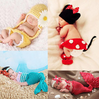 Unisex Spring / Autumn Sleeveless Newborn Baby Crochet Hat Diaper Cover Costume Set Animal Flower Infant Beanie Outfit Knitted Photography Props