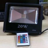 Wholesale 2014 Hot Christmas light black ultrathin RGB LED Flood Light IP66 Waterproof AC85 V COB power W W W W outdoor led floodlight