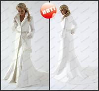 A-Line Model Pictures High Collar Discount Hot Sale 2014 New White Winter Wedding Dresses Cloak Chapel Train Satin Long Sleeve Wedding Coat For Bride Fur Bridal Gown DH947