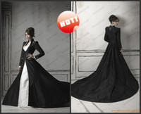 A-Line Model Pictures High Collar 2015 New Black Winter Wedding Dresses Arabic Dubai Cloak Chapel Train Taffeta Long Sleeve Wedding Coat For Bride Warm Bridal Gown DH948