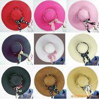 Wholesale Hot folding Hawaii beach Wide Brim Hats sun hat beach hat send ribbons qjq387