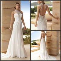 A-Line Reference Images Sweetheart 2014 Demetrios DR197 Wedding Dresses High Collar Backless Crystal Beaded Sequin Pleated Unique Bridal Gowns Court Train Bridal Dresses