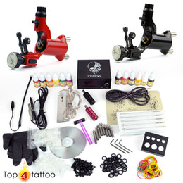 Wholesale Hot Tattoo Kit Rotary Machine Guns With Ink colors pigment Needles power Equipment Set Supply DHL
