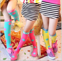 Wholesale Korean Pure Cotton Children Socks Girls Stocking Candy Colour Wave Point Princess Socks pair Random Mix Colour QZ251