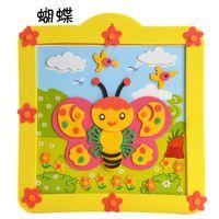 Wholesale High Quality EVA Children Handmade Toy D Sticker Puzzle Intelligent Toy Cartoon Butterfly Photo Frame Flower Accessories