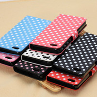 For Apple iPhone Leather White Polka Dot Leather Case Holster For iPhone 5C Iphone5c Flip Folio Stand Holder Inner Plastic Back Cover Two Credit ID Card Slot Spot 7 Colors