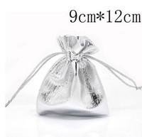 Wholesale MIC Silver Plated Satin Fabric Gift Bags With Drawstring x9cm Jewelry Pouches Bags