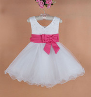 New baby girl evening Dresses big Bow Girl's xmas party dres...