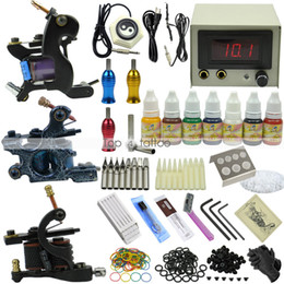 Wholesale Complete Tattoo Kit Machine Gun color Ink Set Power Supply ship by DHL