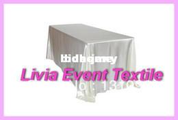 Vente en gros - Tissu blanc de qualité Rectangle 147cmx304cm Satin Tableau Pour mariage Event & amp; amp ; Party & amp; amp ; Hôtel & amp; amp ; Resturant Décoration