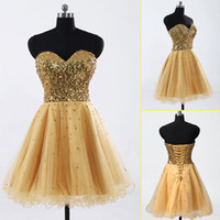 Wholesale 2013 In Stock Gold Shiny Sequins Sweetheart Short Mini Cocktail Dresses Custom Made Acceptable Tulle Beads Lace up Short A Line Prom Gowns