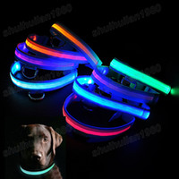 Wholesale Hot Sale Size amp Colors LED Flashing Lighting Safety Pet Supply Dog Nylon Flat Collar Fashion Free Ship