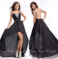 ap water - 2015 Royal Blue Sexy Back Prom Dresses Black Beaded Straps Hi Lo Sweep Train Blackless Crystals Chiffon Formal Gowns Party Dress AP