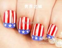 French Nail Tips fake nails - New D USA national flag designs Fake Nails Fashion Nail patch Nail Art Decoration Nail Salon