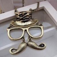 Wholesale Korean Fashion Jewelry Beard Long Chain Face Vintage Moustache Necklace Necklace Mustache Glasses Hat Man Face Pendant Antique Copper