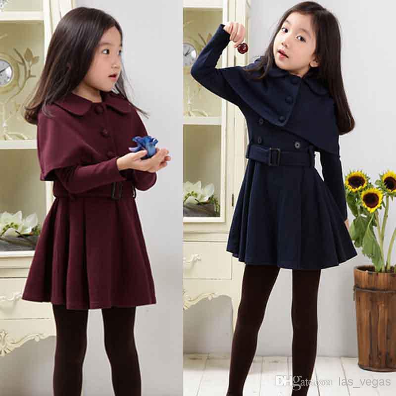 2017 Korean Girls Fashion Outfits Long Sleeve Dress + Cape Sets Children Suits Kids Winter ...