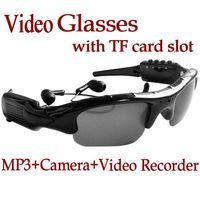Wholesale Video Glasses Sunglasses DVR mp3 player hidden DV Recorder Camera with TF card slot