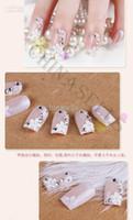 Cheap Wholesale - 24pcs set 3D flower beauty nail accessories acrylic nail art false fake nail tips nail stickers bridal nail with glue