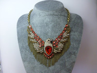 Mexican eagle pendant - Qingdao fashion jewelry and retail diamond tassel necklace pendant eagle over exaggerated wind