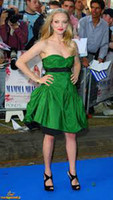 Sweetheart amanda gray - Chic Lovely Green Evening Dresses By Amanda Seyfried Short Satin Ruffle Mini Short Celebrity Evening Prom Gowns With Black Ribbons