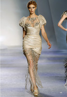 Jewel/Bateau art puff - 2016 Prom Dresses Zuhair Murad Puff Sleeve Ruffled Bubble Tulle Beaded Embroidery Sheath Floor Length Party Dresses Dhyz