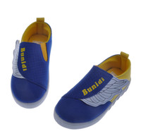 Wholesale Children s Canvas Shoes with Wing Design High Quality Kids Wing Shoes Breathable Canvas Uppers Cheap Toddler Shoes Blue and Red TXB