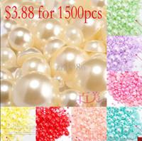 Wholesale NEW mm Half Round imitation Pearls Flat back Jewelry Nail Art Decoration craft DIY w04