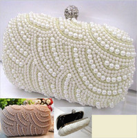 Clutches beaded chain patterns - 2014 New Style Elegant Wave Pattern Pearls Beaded Crystals Clasp Cocktail Ivory Champagne Boxes Evening For Bridal Hand Bages