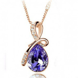 Wholesale Mixed order Angel Tears Crystal Pendant Necklace New Fashion Jewelery Christmas gift