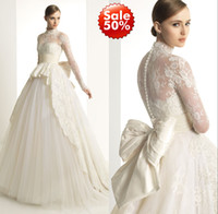 Wholesale 2014 Zuhair Murad Bridal Gown Wedding Dresses With Ivory Sheer Back Long Poet Sleeve Covered Button Lace Big Bow Sweep Train High Neck