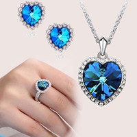 Wholesale Fashion Women s Jewelry Sets Heart of Ocean necklace Sapphire Ring earrings Girl Party Jewelry Set Earstuds Necklace Ring Love Gift