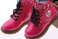 Wholesale 2013 New Kids Martin Boots Metal Leopard Decoration Durable Waterproof Uppers Rose Red for Girls Black for Boys Various Choice TXD