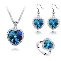 Wholesale Elegant Women s Jewelry Sets Heart of Ocean necklace Sapphire Ring earrings Eardrops Girl Blue Crystal Pendants Necklaces Set