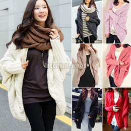 Wholesale New Womens Cable Knitted Batwing Sleeve Shawl Cardigan Tops Knitwear Sweater Outwear Cape ax289