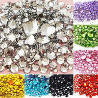 Black Round 1100PCS Wholesale - 9 Colors Mixed Size Shape Flat Back Rhinestone 1100PCS 3D Acrylic Flatback Rhinestones DIY Phone case Nail art design deco suppl